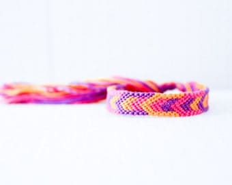 Friendship Bracelet Geometric Chevron Pink Purple and Orange