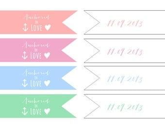 Printable Custom Wedding Straw Flags_ Stationery Sheet_Digital DIY