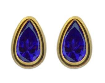 14Kt Yellow Gold Amethyst Pear Bezel Stud Earrings