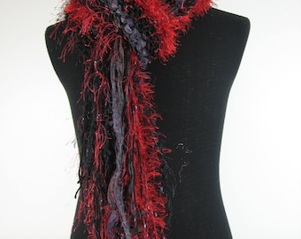 A Little Piece of My Heart petite red and black multi texture multi fiber hand knit rectangular shawl with long fringe