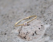 April Birthstone Stacking Ring in solid Gold, cubic zirconia Ring