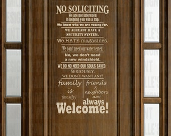 Funny No Soliciting Sign Matte Craft Vinyl Decal 12x24