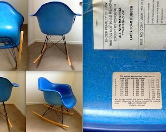 EAMES SKY BLUE Rare Fiberglass Rocking Chair Alexander Girard Naugahyde All-Blue Monochrome Vintage Armshell Herman Miller rocker logo mark