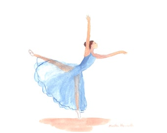 ORIGINAL watercolor painting, Ballerina, 12 x 9 inches, ballerina dancer, ballet painting one of a kind