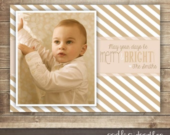 Merry & Bright Christmas Photo Card,  Gold Stripes, Holiday Photo Card, Printable Digital File or Printed