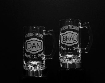 PERSONALIZED Glass Beer Mug - Father of the Bride, Father of the Groom -  Name, Title, Date - Father Beer Mugs, Dad Beer Mugs, Wedding Mug