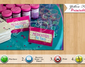Doc Mcstuffins Food Tents, Doctor Food Signs, Doc Food Tents, Sparkle Food Tents- Customize with 10 items -YOU PRINT