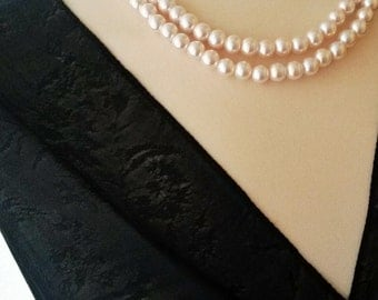 Two strand blush pearl necklace,Pink pearl bridesmaid necklace,Blush pearl wedding necklace,Soft pink pearl necklace,Soft pink blush jewelry