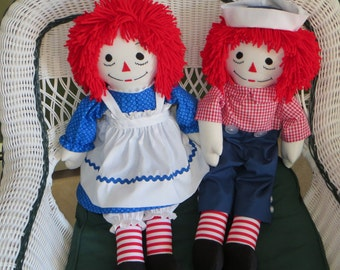 Raggedy Ann and Andy Set of 2 dolls 25 inch Traditional Personalized Custom Handmade
