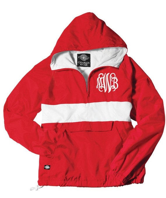 Monogrammed Pullover Rain Jacket lined with a Hood RED and