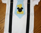 Mickey Inspired First Birthday Tie Onesie or T-shirt with Suspenders