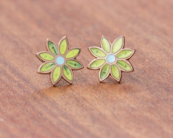 Vintage copper with glass Enamel Flower Stud Earring in Chartreuse and Sky Blue