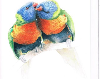 Rainbow Lorikeets Greeting Card, Australian Wildlife, Watercolor Illustration, Birds