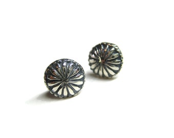 hardware sterling silver stud earrings small flower decorative nail screw head delicate oxidized silver - Decorative Screws