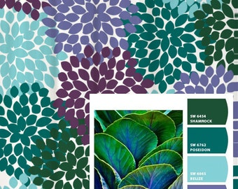 Shower Curtain In Purple Blue Green Inspired Floral Standard And Long Lengths 70 74