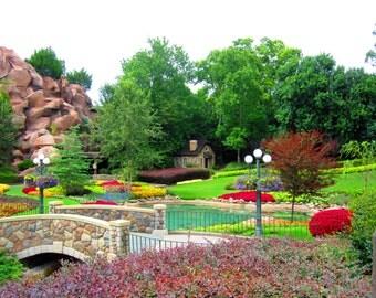 8X10 Photo Butchart Gardens, Disney World, Epcot, Garden Photography, Cottage Decor, Stone Cottage, Summer Landscape, Canada Print, Travel