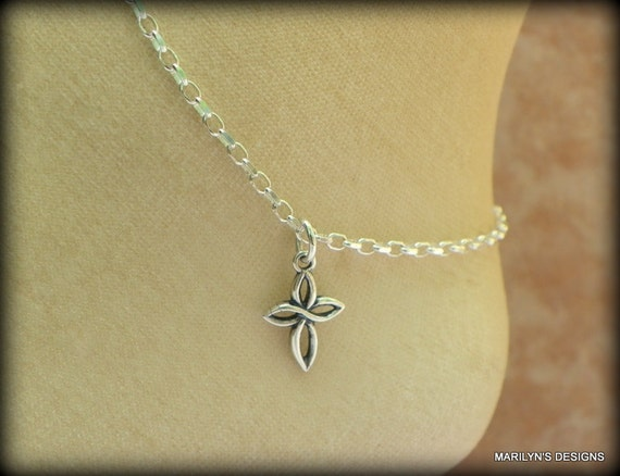 Sterling silver cross anklet, spiritual, wedding anklet, bracelet, religious jewelry