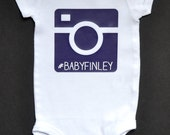 Custom Camera Hashtag Baby Onesie - Purple Camera Design