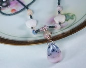 "18 1/2"" beaded necklace with pink opal wire wrapped pendant"
