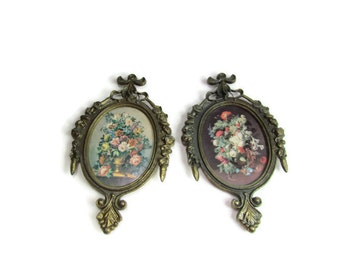 Vintage Italian Metal Frames with Floral Prints Marked Italy