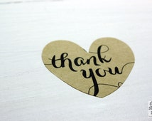 Thank you heart sticker, kraft paper stickers, 24 pieces, kraft paper, scrapbooking, packaging, party gift wrap