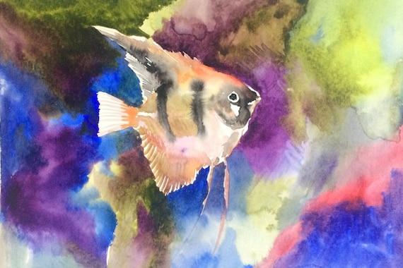 Angelfish Oriignal watercolor painting 9 X 12 in aquarium