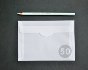 "50 4x6 Translucent Envelopes for A6 cards - Made of high quality tracing paper (The actual size is 4 1/2""x6 3/8"")"