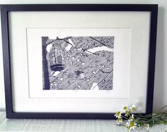 """Limited edition linocut print A5 - """"Flying"""" book illustration"""