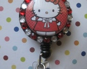 Red Nurse Kitty INSPIRED ID badge holder