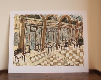 CAFE FLORIAN VENICE Art, Piazza San Marco, St Marks Square, Pencil & Watercolor Italy Painting, Limited Edition Giclee Print Clare Caulfield