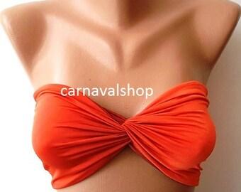 SALE Spandex Bandeau-Swimwear -Swimsuit-orange-Copper-Bikini top-sunbathing
