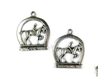 Horse Pendant, Set of 2, 32x32mm, Horse Charm, Victory Horse Pendant, Racing Pendant,  Track Pendant, Victory Charm, Blue moon, SLT153