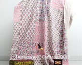 Kantha Quilt, Block Print Quilt, Patchwork Quilt, Queen Bed Cover, Kantha Queen Blanket, Indian Kantha Bedspread, Bohemian Bedding Quilts