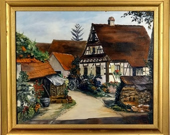 Rare ca.1950 Listed Artist French Village Painting Oil/Canvas/Frame