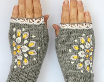 Hand Knitted Fingerless Gloves, Grey,  Clothing And Accessories,Gloves & Mittens, Gift Ideas, For Her, Accessories,Fall Fashion Accessories
