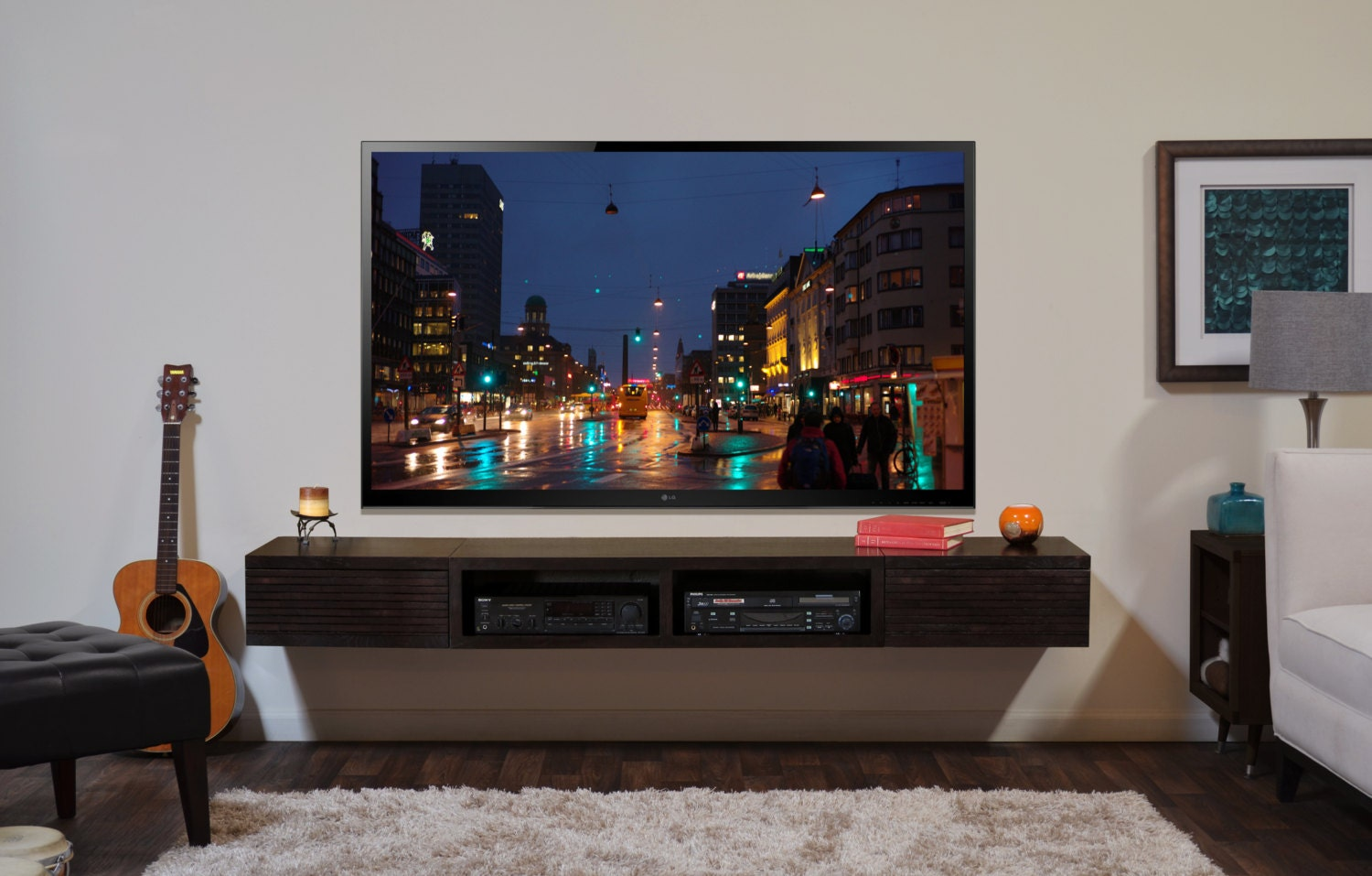wall mounted tv stand entertainment console mayan espresso. Black Bedroom Furniture Sets. Home Design Ideas