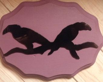Two Ravens on Purple Plaque