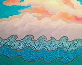 """Original Abstract Water Cloud Painting Beach Art 18"""" x 24"""" Acrylic Painting"""