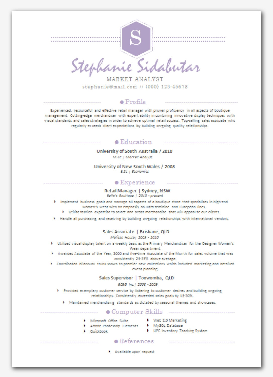 items similar to modern microsoft word resume template - stephanie sidabutar