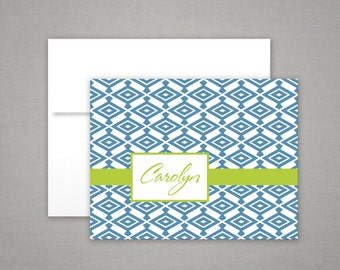 Personalized Stationery - Notecards with Diamond Pattern - Personalized Stationary