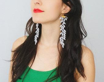 Statement Earrings Lace Earrings Long Earrings Boho Jewelry Boho Earrings Girlfriend Gift Mom Gift Bridesmaid Gift Inspirational/ GALEO