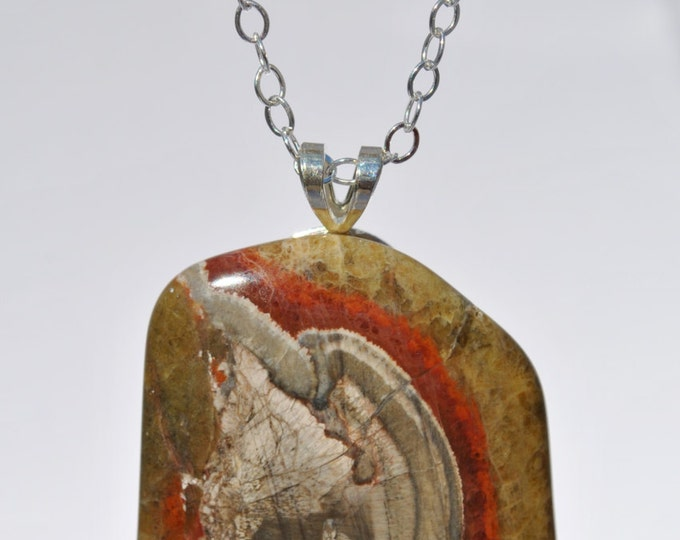 Mushroom Agate Stone on Sterling Silver 18 inch chain