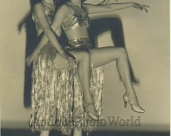 Two women dancers in exotic costumes antique art photo