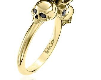Yellow Gold 1ct Black Diamond Skull Ring