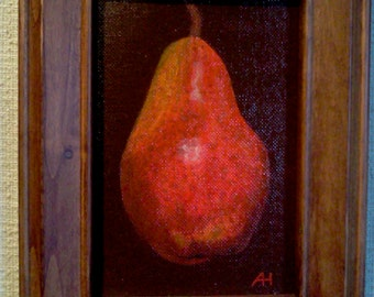 """Original """"Red Pear"""" Acrylic Painting 4"""" x 6"""""""