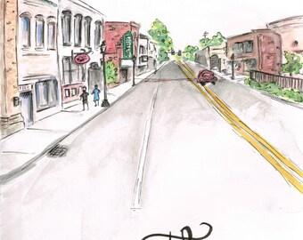 Downtown Thomson, GA Watercolor Digital Fine Art Print 8x10