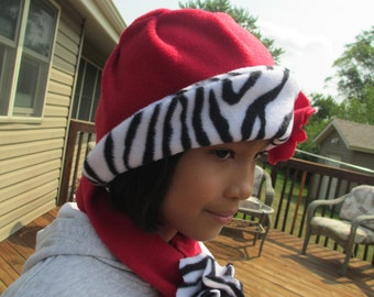 Girl's Red/Zebra Print  Fleece Hat and Scarf  Sizes 3-4T  5-6   7-8