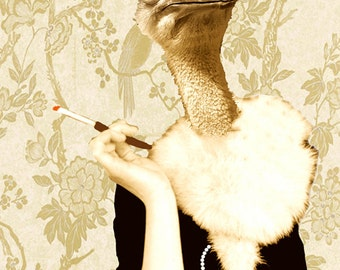 Animal painting portrait painting  Giclee Print Acrylic Painting Illustration Print wall decorative art decor Wall Hanging: Jetset ostrich