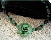 Art necklace..OOAK..Free-form..polymer clay-green  black..Renaissance..Vintage black beads..floral.. Made in USA - AppoloniasGifts