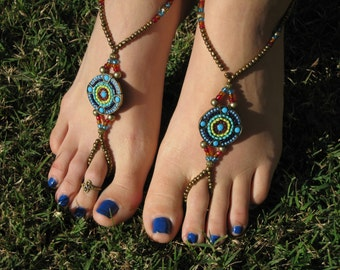 Bronze, Turquoise, Red Barefoot Sandals, Slave Anklet, foot jewelry, ankle bracelet with toe ring